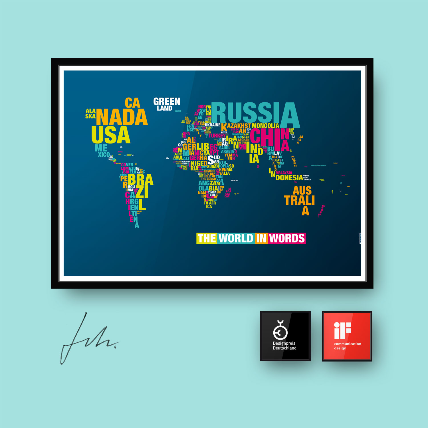 Typomap Poster Worldmap Dark