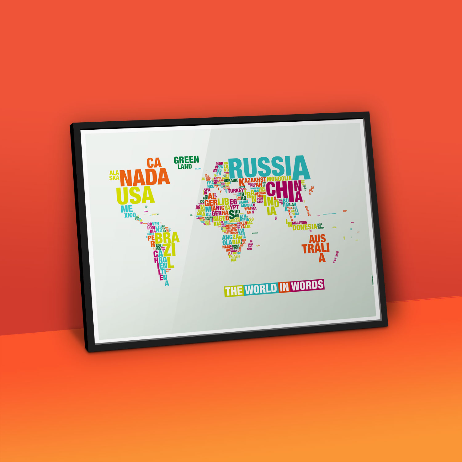 Typomap Poster Worldmap Light