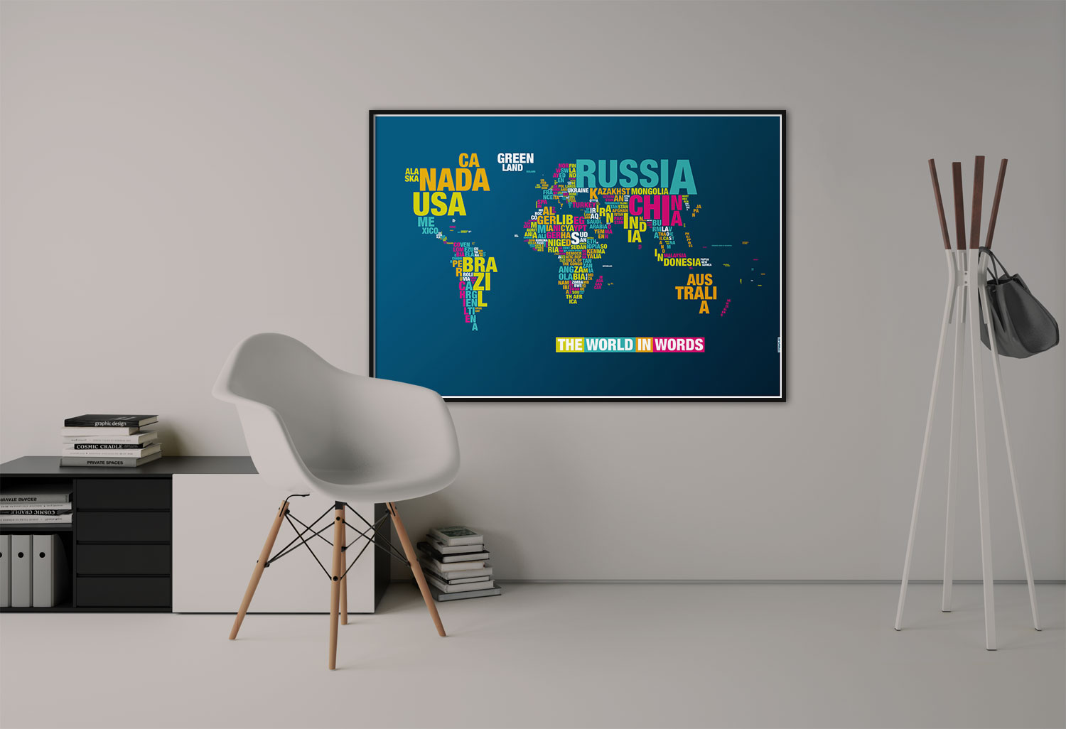 Typomap Poster Worldmap Dark Dekorated