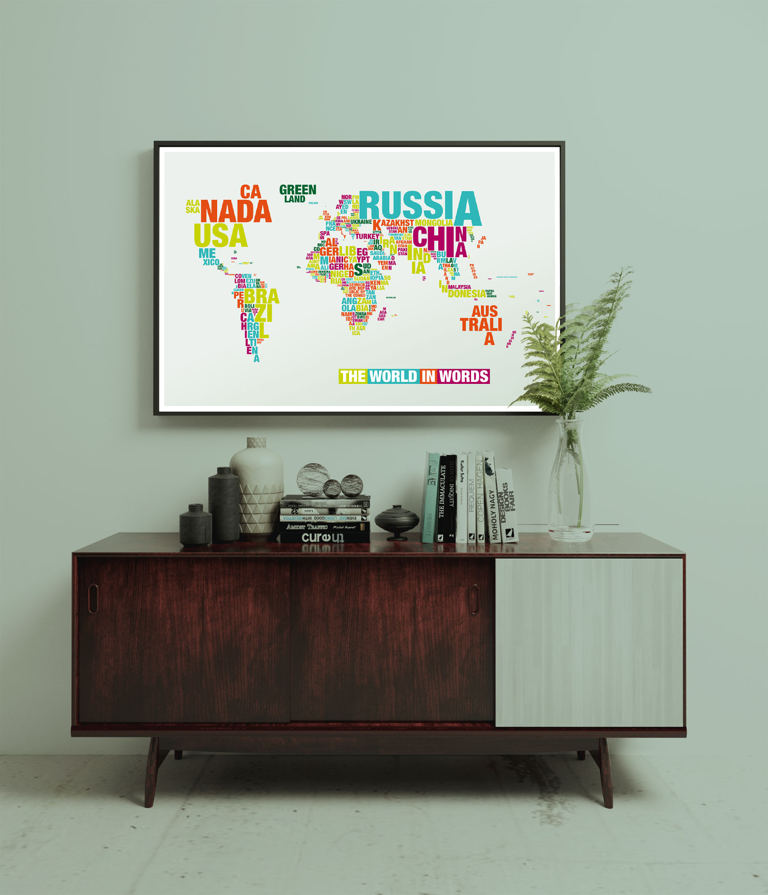 Typomap Poster Worldmap Light Dekorated